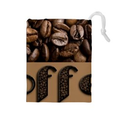Funny Coffee Beans Brown Typography Drawstring Pouches (large)  by yoursparklingshop