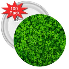 Shamrock Clovers Green Irish St  Patrick Ireland Good Luck Symbol 8000 Sv 3  Buttons (100 Pack)  by yoursparklingshop