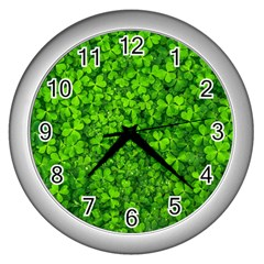 Shamrock Clovers Green Irish St  Patrick Ireland Good Luck Symbol 8000 Sv Wall Clocks (silver)  by yoursparklingshop