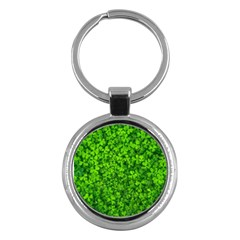 Shamrock Clovers Green Irish St  Patrick Ireland Good Luck Symbol 8000 Sv Key Chains (round)  by yoursparklingshop