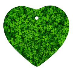 Shamrock Clovers Green Irish St  Patrick Ireland Good Luck Symbol 8000 Sv Heart Ornament (2 Sides) by yoursparklingshop