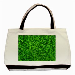 Shamrock Clovers Green Irish St  Patrick Ireland Good Luck Symbol 8000 Sv Basic Tote Bag (two Sides) by yoursparklingshop