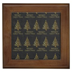Merry Christmas Tree Typography Black And Gold Festive Framed Tiles by yoursparklingshop