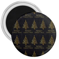 Merry Christmas Tree Typography Black And Gold Festive 3  Magnets by yoursparklingshop