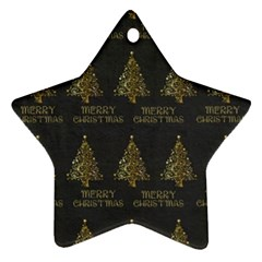 Merry Christmas Tree Typography Black And Gold Festive Ornament (star)  by yoursparklingshop