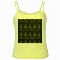 Merry Christmas Tree Typography Black And Gold Festive Yellow Spaghetti Tank by yoursparklingshop