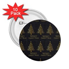 Merry Christmas Tree Typography Black And Gold Festive 2 25  Buttons (10 Pack)  by yoursparklingshop