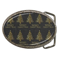 Merry Christmas Tree Typography Black And Gold Festive Belt Buckles by yoursparklingshop