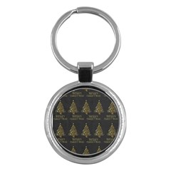 Merry Christmas Tree Typography Black And Gold Festive Key Chains (round)  by yoursparklingshop