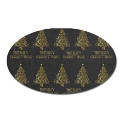 Merry Christmas Tree Typography Black And Gold Festive Oval Magnet by yoursparklingshop