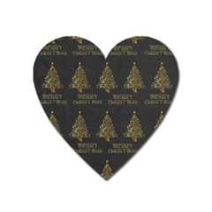 Merry Christmas Tree Typography Black And Gold Festive Heart Magnet by yoursparklingshop