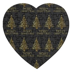 Merry Christmas Tree Typography Black And Gold Festive Jigsaw Puzzle (heart) by yoursparklingshop