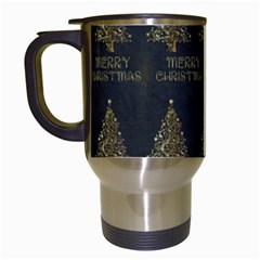 Merry Christmas Tree Typography Black And Gold Festive Travel Mugs (white) by yoursparklingshop
