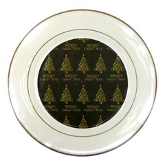 Merry Christmas Tree Typography Black And Gold Festive Porcelain Plates by yoursparklingshop