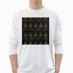 Merry Christmas Tree Typography Black And Gold Festive White Long Sleeve T Shirts by yoursparklingshop
