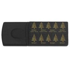 Merry Christmas Tree Typography Black And Gold Festive Usb Flash Drive Rectangular (4 Gb)  by yoursparklingshop