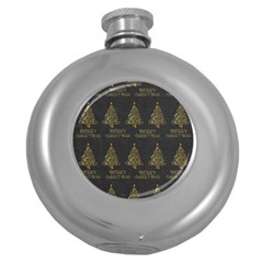 Merry Christmas Tree Typography Black And Gold Festive Round Hip Flask (5 Oz)