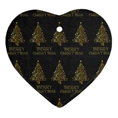 Merry Christmas Tree Typography Black And Gold Festive Heart Ornament (2 Sides) by yoursparklingshop