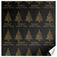 Merry Christmas Tree Typography Black And Gold Festive Canvas 16  X 16   by yoursparklingshop