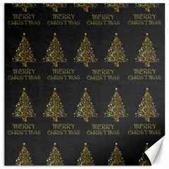 Merry Christmas Tree Typography Black And Gold Festive Canvas 20  X 20   by yoursparklingshop