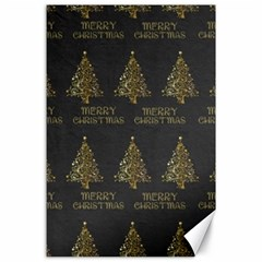 Merry Christmas Tree Typography Black And Gold Festive Canvas 24  X 36  by yoursparklingshop