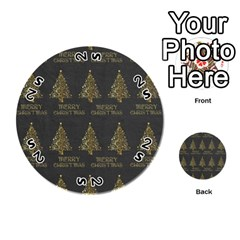 Merry Christmas Tree Typography Black And Gold Festive Playing Cards 54 (round)  by yoursparklingshop