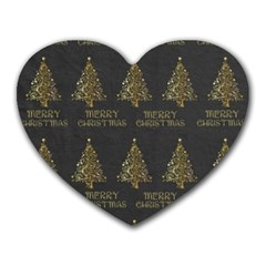 Merry Christmas Tree Typography Black And Gold Festive Heart Mousepads by yoursparklingshop