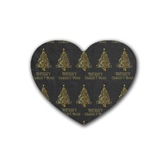 Merry Christmas Tree Typography Black And Gold Festive Rubber Coaster (heart)