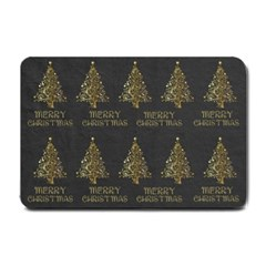 Merry Christmas Tree Typography Black And Gold Festive Small Doormat  by yoursparklingshop