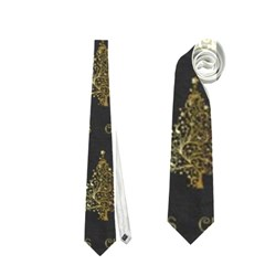 Merry Christmas Tree Typography Black And Gold Festive Neckties (one Side)