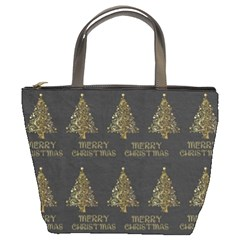 Merry Christmas Tree Typography Black And Gold Festive Bucket Bags by yoursparklingshop