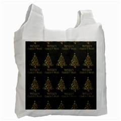 Merry Christmas Tree Typography Black And Gold Festive Recycle Bag (one Side) by yoursparklingshop