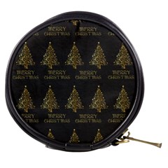 Merry Christmas Tree Typography Black And Gold Festive Mini Makeup Bags