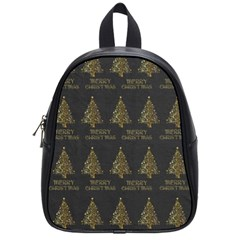 Merry Christmas Tree Typography Black And Gold Festive School Bags (small)  by yoursparklingshop