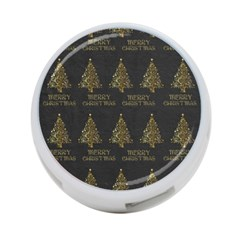 Merry Christmas Tree Typography Black And Gold Festive 4 Port Usb Hub (one Side) by yoursparklingshop
