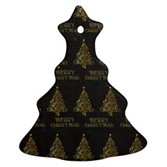 Merry Christmas Tree Typography Black And Gold Festive Ornament (christmas Tree) by yoursparklingshop