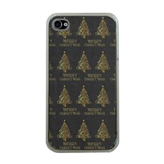 Merry Christmas Tree Typography Black And Gold Festive Apple Iphone 4 Case (clear) by yoursparklingshop