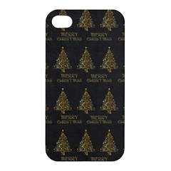 Merry Christmas Tree Typography Black And Gold Festive Apple Iphone 4/4s Hardshell Case