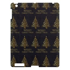 Merry Christmas Tree Typography Black And Gold Festive Apple Ipad 3/4 Hardshell Case by yoursparklingshop