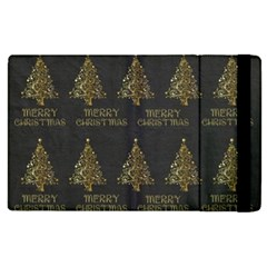 Merry Christmas Tree Typography Black And Gold Festive Apple Ipad 3/4 Flip Case by yoursparklingshop