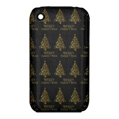 Merry Christmas Tree Typography Black And Gold Festive Apple Iphone 3g/3gs Hardshell Case (pc+silicone) by yoursparklingshop