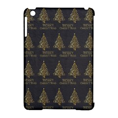 Merry Christmas Tree Typography Black And Gold Festive Apple Ipad Mini Hardshell Case (compatible With Smart Cover)