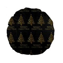 Merry Christmas Tree Typography Black And Gold Festive Standard 15  Premium Round Cushions by yoursparklingshop