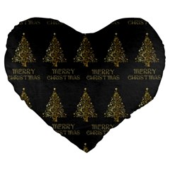Merry Christmas Tree Typography Black And Gold Festive Large 19  Premium Heart Shape Cushions by yoursparklingshop
