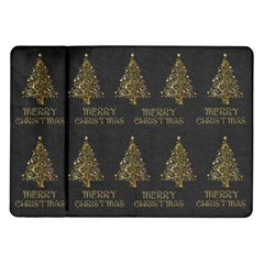 Merry Christmas Tree Typography Black And Gold Festive Samsung Galaxy Tab 10 1  P7500 Flip Case