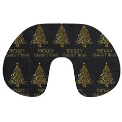 Merry Christmas Tree Typography Black And Gold Festive Travel Neck Pillows by yoursparklingshop