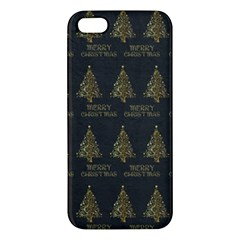 Merry Christmas Tree Typography Black And Gold Festive Iphone 5s/ Se Premium Hardshell Case by yoursparklingshop