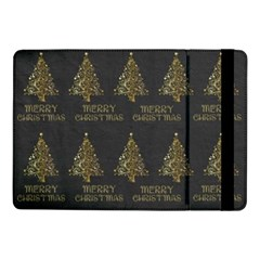 Merry Christmas Tree Typography Black And Gold Festive Samsung Galaxy Tab Pro 10 1  Flip Case by yoursparklingshop