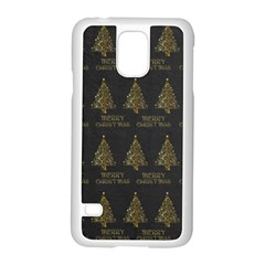Merry Christmas Tree Typography Black And Gold Festive Samsung Galaxy S5 Case (white) by yoursparklingshop