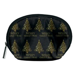 Merry Christmas Tree Typography Black And Gold Festive Accessory Pouches (medium)  by yoursparklingshop